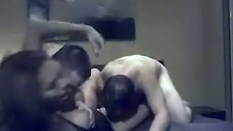 Licentious dick hungry transsexual slut gets to fuck two men at home