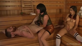 Appealing women go nasty in the sauna during bi-sexual XXX