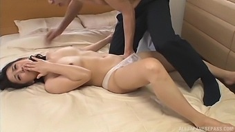 Stunning Asian chick gets her pussy filled with a hard pecker