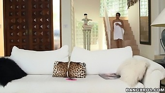 Horny room-mate Diamond Kitty joins Ada Sanchez for a threesome