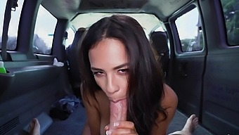 Sweet brunette hard fucked in the bang bus and made to swallow