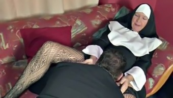The german language MILF Nun get fucked through Pastor in Cathedral