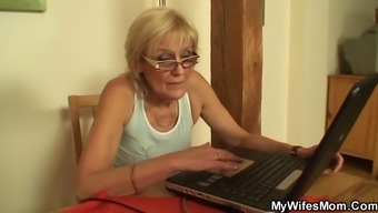 Fucking old mother-In-law on the desk