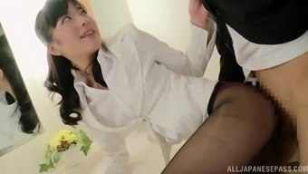 Stunning Japanese infant in nylon pantyhose getting missing doggystyle