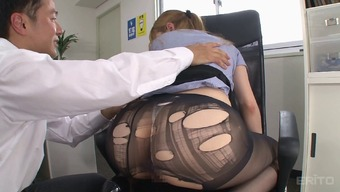 Tearing up her black pantyhose whereas fucking the counter
