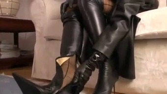 Warm Brunette Joking In Leather and High-Heel The company