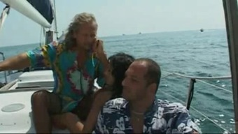 Sizzling blonde fucked at sea by an aged man