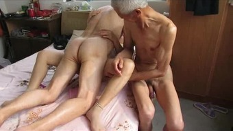 From asia Grandpa Trio with the use of age girl
