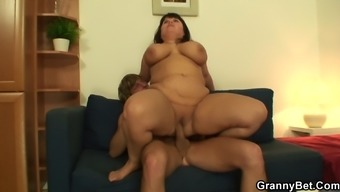 Big tits old women jumps on his complicated penis