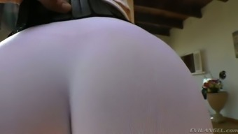 Curvy dirty-minded auburn MILF in yoga underwear displays her rising cost of living ass