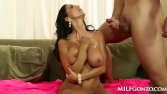 MILFGonzo Trauklumas Adams drains and fucks her sons good friend