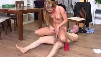 Old-n-Young.com - Chrissy Fox - Old man pays a hot delivery girl with sperm