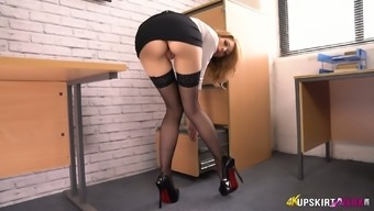 Humorous and sexy secretary Eva flashes her underskirt and ripe bum