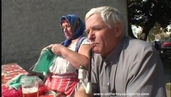 Young and old lady stinks the cock really well