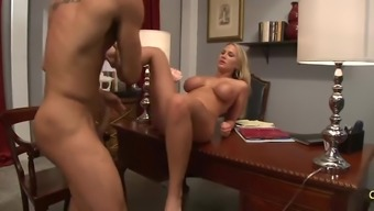 Stunning Alanah Rae kissing and using on substantial cock