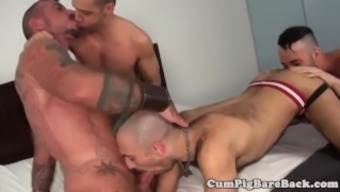 Grey gobble assfucking twinks in foursome
