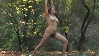 Nude yoga in nature