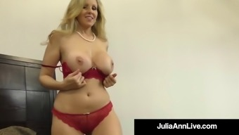 Cock craving cougar julia ann gives lucky cock handjob &amp bj!